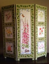 EVELINE ROBERGE Newport Rhode Island Floral Wood Folding 3 Panel Screen