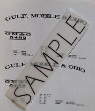 Gulf, Mobile & Ohio S Gauge Custom made Waterslide Decals in Black color.