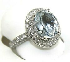 Oval Aquamarine & Diamond Halo Solitaire Lady's Ring 14k White Gold 4.21Ct