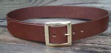 1 3/4 inch wide mens leather belt, solid brass centrebar buckle Australian made