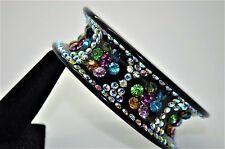 Fashion Bracelet black Plastic base  Muliti Color Rhinestone Wide Bangle jewelry