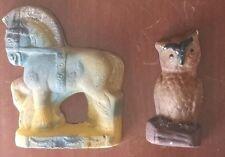 Pair Vintage Carnival Chalk Ware Owl & Horse Free Ship