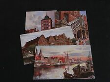 FOUR ORIGINAL TUCK POSTCARDS - LUEBECK - OILETTE No. 7080.