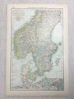 1899 Antik Map Of Skandinavien Hamar Stift Schweden Norwegen 19th Original