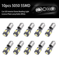 10x 5050 5SMD BA9S T4W H6W LED 12V Canbus Error Car Side Dome Light White Bulbs