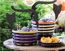 Longaberger 2015 Halloween large Cat basket Black & White with protector New