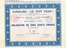 """Expo Universelle 1889 Très Rare Panorama """"Le Tout Paris"""" Obligation de 500 F"""