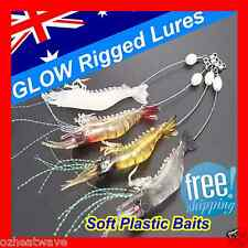 4x GLOW Rigged Prawn Shrimp Fishing Lures Soft Plastic Baits Lure Flathead Bream