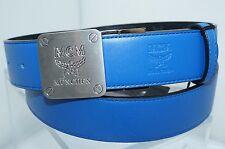 New MCM Men's Black Belt Reversible Adjustable Women's Logo Blue Buckle Leather
