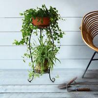 2-Tier Metal Plant Stand Planter Rack Flower Pots Holder Disply Rack US Stock