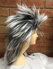 Long Silver SPIKY Wig Rock Punk 80s Fancy Dress Costume Bogan Mullet Spikey New
