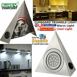 LED Mains Kitchen Under Cabinet Cupboard Triangle Light Kit Cool Warm White UK