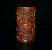 Noble Chinese Hand-carved Literati party statue boxwood Brush pot pencil vase