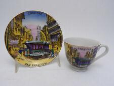 San Francisco Cable Car Vintage Japan Souvenir Hand Painted Cup & Saucer Plate