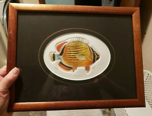 """Matted & Framed Fish Picture """"Kapuhili""""  Hand Colored Intaglio Print 1993"""
