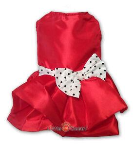 Dog Clothes Pet Dress Cat Blouse Shirt Skirt Fashion RED BALLOON DOT BOW Sz.00-6