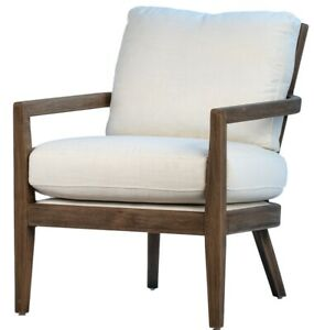 """26"""" W Alvise Occasional Chair White Linen Cushions Solid Oak Wood Frame"""