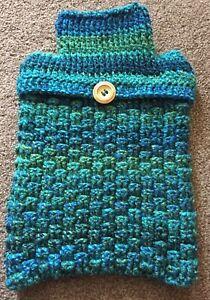 Hand Crochet Hot Water Bottle Cover / Hottie Cover - Green