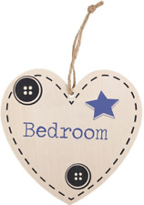 Bedroom Hanging Heart Sign - Wooden Shabby Chic Wall Plaques Friendship