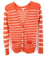 """JOIE """"Adelia"""" Cardigan Orange Striped V Neck Sweater 100% Alpaca Wool Women's XS"""