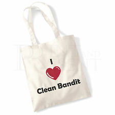 'I love (Heart) Clean Bandit' Cotton Canvas Reusable Shopping Tote Bag