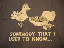 SOMEBODY THAT I USED TO KNOW FUNNY NAVY CHICKEN T-SHIRT XL - BRAND NEW - NWT