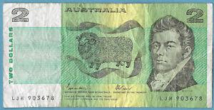 Australian 1985 $2 Two Dollars Johnston Fraser Note LJH903678