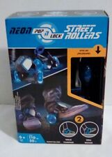 Neon Pop N Lock Street Rollers with Led Wheels Adjustable Straps Blue Roll Walk