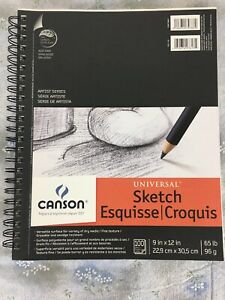 "Canson 100 Sheet Sketch Pad 9"" X 12"" Sketchbook Drawing Pencil Art Paper"