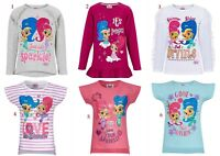 Girls Children Shimmer And Shine Short Long Sleeve Tee T Shirt Top age 2-8 years