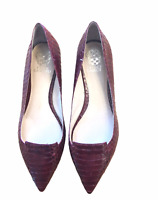 Vince Camuto Empa womens red burgundy snakeskin look pointy flats 9.5M 9 shoes