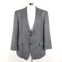 Hugo Boss Sakko Pasini Herren Gr. 27 Grau Blau Kariert Super 100 Wolle Blazer