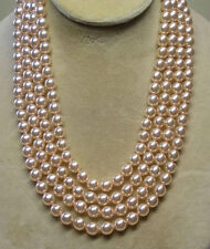 AAAAA 6-7 mm natural akoya white pearl necklace 58 inch 14K Solid gold