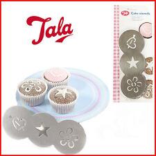 3 forme gâteau pochoirs en acier inoxydable cupcake décoration tala sugar craft new