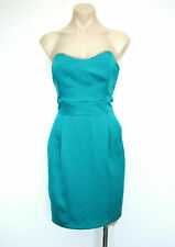 REVIEW Size 14 Cocktail Party Dress Pencil Sateen Teal Strapless Beading NWT