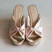 *BRAND NEW* Almond Beige Satin Platform Sandals Size 7 / EU38