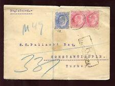 INDIA KE7 1907 REGIST.COVER to CONSTANTINOPLE TURKEY