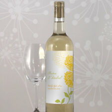 24 Zinnia Bloom Personalized Wedding Wine Bottle Labels