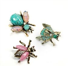 Sweet Romance Exotic Bees Scatter Pins Set of 3 in Pastel Tones ~Made in the USA