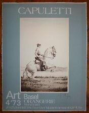 Capuletti affiche sur velin gravure signée 1973 art basel cavalier cheval