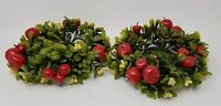 2 Vintage Wreath Christmas Candle Holders Red Apples Holly Berries