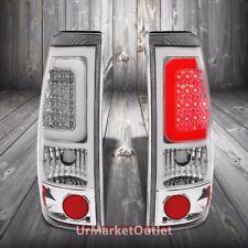 Chrome Housing Clear Lens 3D LED Tail Light For Chevy/GMC 99-03 Silverado/Sierra