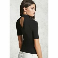 NWT FOREVER 21 Mock Neck Cut Out Open Back Fitted Knit Tee Shirt Top Blouse S M
