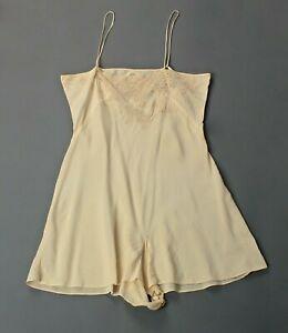 VTG Women's 40s Cream / Ivory Slip / Romper W Lace Sz M 1940s Sleepwear Lingerie