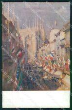 WW1 WWI Propaganda Tricolore American Flag Milano cartolina postcard XF8681