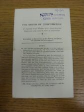 19/11/1949 Order Of Service Programme: Confirmation [At Parish Church Of St Nicl