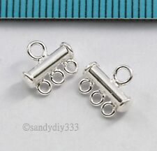 4x STERLING SILVER CHANDELIER 3-strand EARRINGS END CONNECTOR 9mm N483
