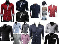 Men's Long Sleeve Casual Slim Fit 100%Cotton Dress Shirts Top Collection UK Size