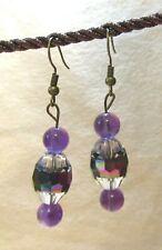 Beaded Earrings, Amethyst, Dangle, Handcrafted, Boho, Tribal Ethnic, item #20