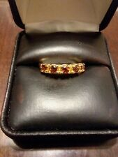 LOVELY 10KT YELLOW GOLD RING WITH BEAUTIFUL GARNETS